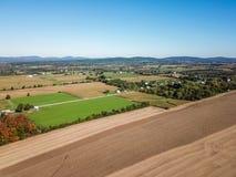 Antena de las tierras de labrantío en Dover, Pennsylvania apenas al sur de Harrisbu foto de archivo libre de regalías