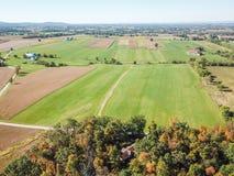 Antena de las tierras de labrantío en Dover, Pennsylvania apenas al sur de Harrisbu fotos de archivo