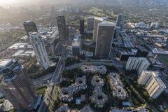 Antena de las torres de la ciudad del siglo de Los Ángeles Imágenes de archivo libres de regalías