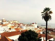 Antena de Lisboa, opinión del pájaro Horizonte del panorama de Lisboa, Portugal imágenes de archivo libres de regalías