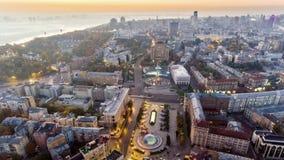 Antena de Maydan Nezalezhnosti, o quadrado central de Kiev, Kyiv, Ucrânia video estoque