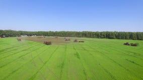 Antena de muitos equipamentos agrícolas na equitação agrícola da mostra no campo verde filme