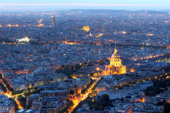Antena de París en la noche con Les Invalides, Francia Imágenes de archivo libres de regalías