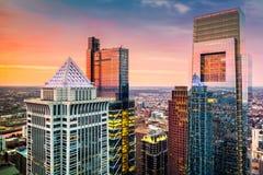 Antena de Philadelphia con los rascacielos céntricos Fotos de archivo libres de regalías