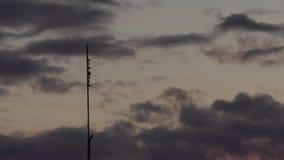 Antena de televisión vieja contra el vídeo del timelapse del cielo de la puesta del sol almacen de video