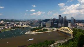 Antena de Timelapse de la Pittsburgh 4K céntrico almacen de metraje de vídeo