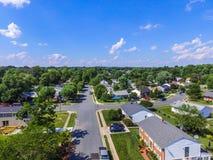 Antena de uma vizinhança em Parkville em Baltimore County, Maryl fotos de stock royalty free