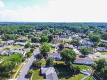 Antena de uma vizinhança em Parkville em Baltimore County, Maryl fotografia de stock royalty free