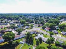 Antena de uma vizinhança em Parkville em Baltimore County, Maryl fotografia de stock