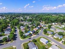 Antena de uma vizinhança em Parkville em Baltimore County, Maryl imagem de stock