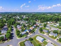 Antena de uma vizinhança em Parkville em Baltimore County, Maryl imagem de stock royalty free