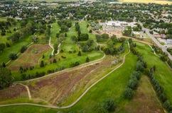 Antena del campo de golf imagenes de archivo