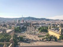 Antena del ` Espanya de la plaza d en Barcelona foto de archivo libre de regalías