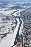 Antena del invierno del canal de Welland Fotografía de archivo libre de regalías
