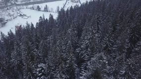 Antena del lugar habitado en las montañas el invierno Edificios y casas del pueblo de montaña en cuestas nevosas de la colina metrajes