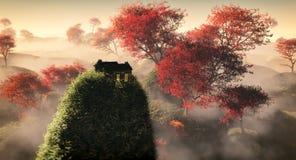 Antena del paisaje herboso de la colina de la fantasía con los árboles rojos del otoño y la casa sola en roca Foto de archivo