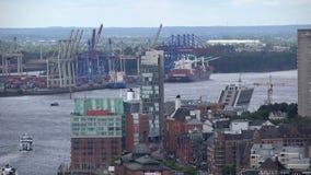 Antena del puerto de Hamburgo almacen de metraje de vídeo