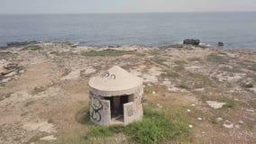 Antena do depósito redondo da metralhadora da guerra mundial 2 pelo mar video estoque