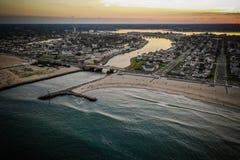 Antena do por do sol New-jersey da praia de Belmar fotos de stock