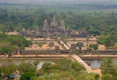 Antena do templo de Angkor Wat, Camboja, 3Sudeste Asiático Imagens de Stock
