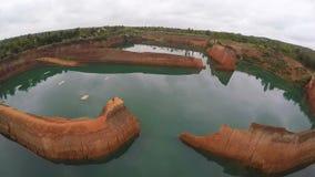 ANTENA: Hangdong Uroczysty jar w Chiang Mai, Tajlandia Rezerwuar od starej ziemi kopalni zbiory wideo