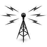 Antena - icono de la torre de la difusión stock de ilustración