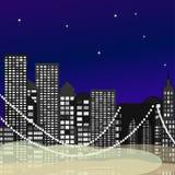 Antena inconsútil del horizonte de la ciudad en la puesta del sol con los rascacielos Vector libre illustration