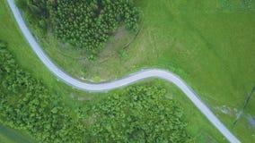 ANTENA 4K: Lot Nad Mgłowym Drogowym bieg Przez Lasowego trutnia widoku przy mglistymi wzgórzami z wiejską drogą, drewnami i polam zbiory