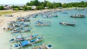 Antena krajobraz drewniane rybak łodzie Obrazy Royalty Free
