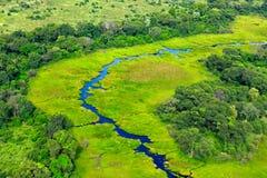 Antena krajobraz w Okavango delcie, Botswana Jeziora i rzeki, widok od samolotu Zielona roślinność w Południowa Afryka Drzewa z w Obraz Stock
