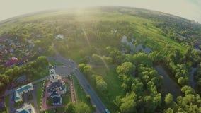 Antena krajobraz wiejska scena w środkowym Rosja na lecie zbiory wideo