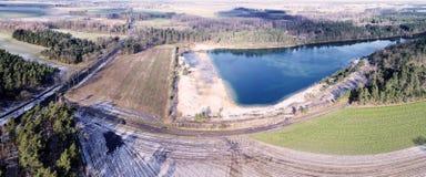 Antena krajobrazowy widok, powietrzna fotografia z jeziorem, pola, łąki, lasy, droga, panorama jako sztandar dla blogu i strona i Obrazy Stock