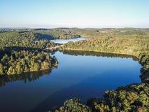 Antena Loganville, Pennsylwania wokoło Jeziornego Redman i jezioro W, Obraz Royalty Free