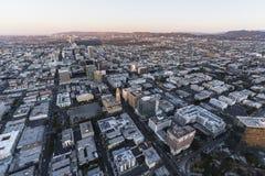 Antena Los Ángeles de la mañana del bulevar de Wilshire fotos de archivo