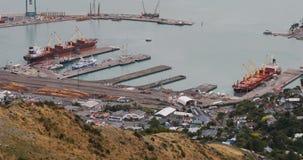 Antena Lyttelton schronienie, Nowa Zelandia blisko Christchurch 4K zdjęcie wideo