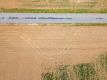 Antena miasteczko otaczający ziemią uprawną w Shrewsbury, P Obrazy Stock