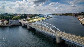 Antena nabrzeże przy mostem w Sønderborg Fotografia Royalty Free
