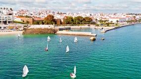 Antena od żeglowania w schronieniu od Lagos w Algarve porcie Obrazy Royalty Free