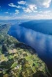 Antena Okanagan uprawia ziemię, jeziorni winnicy, BC, Kanada Obraz Stock
