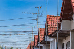 Antena. Old television antena receiver on home roof royalty free stock photos