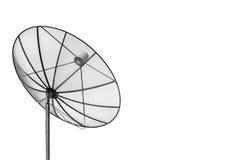 Antena parabólica preta grande isolada no fundo branco com cópia Foto de Stock Royalty Free