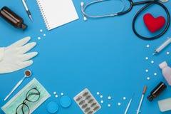 Antena plana de la endecha de la atención sanitaria de los accesorios y del concepto del fondo médico foto de archivo libre de regalías