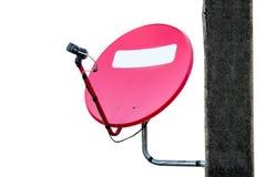 Antena plato-aérea roja vieja Foto de archivo