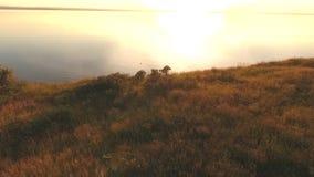 Antena que tira la puesta del sol de un acantilado almacen de metraje de vídeo