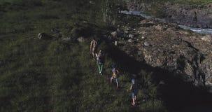 antena Rodzina turyści mężczyzna z dziećmi chodzi wzdłuż ścieżki w górach i młoda kobieta Młoda matka zbiory wideo