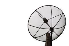 Antena satélite contra no fundo branco Fotos de Stock Royalty Free