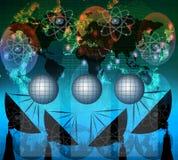 Antena satelitarna i cyfrowi dane na błękitnym koloru tematu use dla wielocelowego Zdjęcie Royalty Free