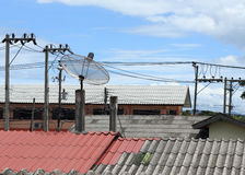 Antena satelitarna i TV anteny na mieścimy dach Zdjęcia Stock