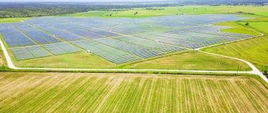 Antena solar em Austin, Texas da exploração agrícola, EUA fotografia de stock