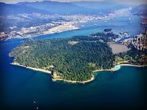 Antena Stanley Burrard i parka wpust w Vancouver, kolumbiowie brytyjska, Kanada Fotografia Royalty Free